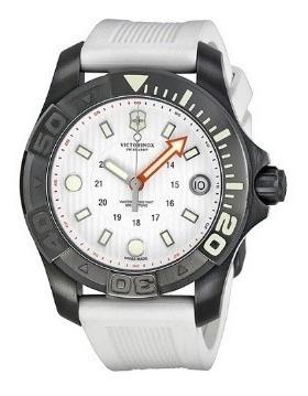 Relógio Victorinox Feminino Diver Ss Borracha/branco/cinza