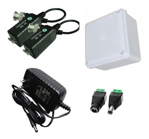 Kit Fuente 12v 1,5 Amp + Caja De Paso + Video Balun + Dc