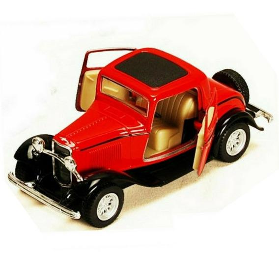 1932 Ford 3 Window Coupe Kinsmart Escala 1/34 Vermelho