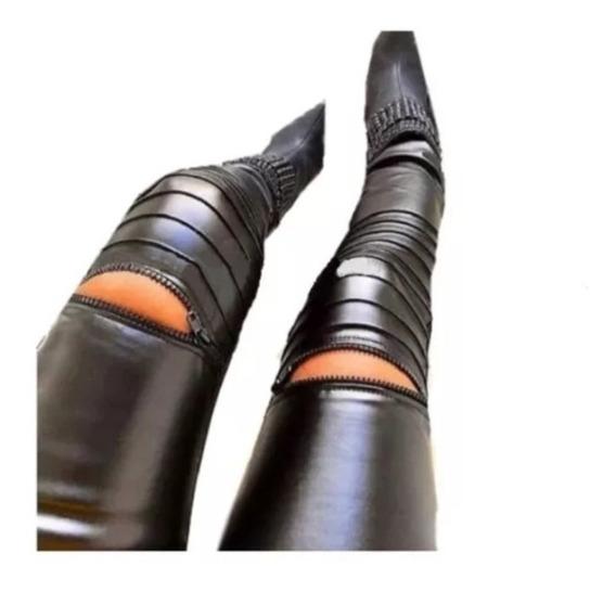 Calça Legging Feminina Couro Fake Zíper Nervura Blogueiras