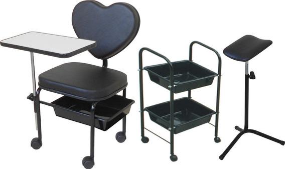 Cadeira Manicure + Carrinho Auxiliar + Tripé Kit Love