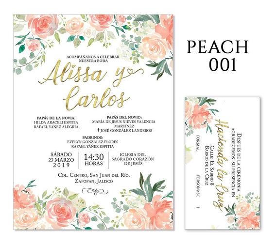25 Invitaciones - Flores Peach, Coral- Bodas, Xv Años, Etc.