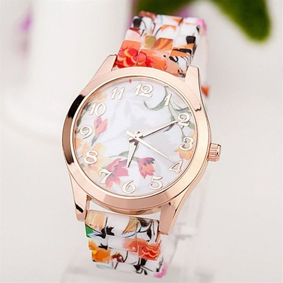 Splendid Silicone Floral Band Watches Women Rubber Strap Wat