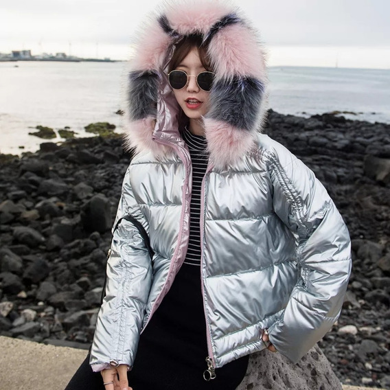 Chamarra Impermeable Mujer Nieve Capucha Plata Xl