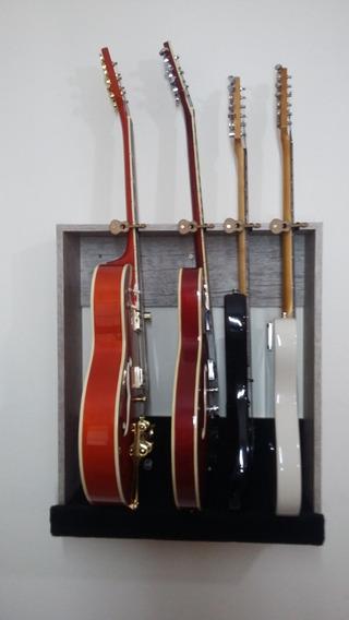 Suporte Guitarras 4 Lugares De Parede Com Travas