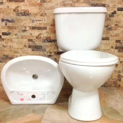 Sala Baño Poceta Push Bottom + Lavamano + Asiento + Tanque