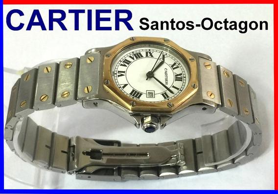 Elegante Cartier Santos Octagon 30mm Aço-ouro 18k Ref.: 2966