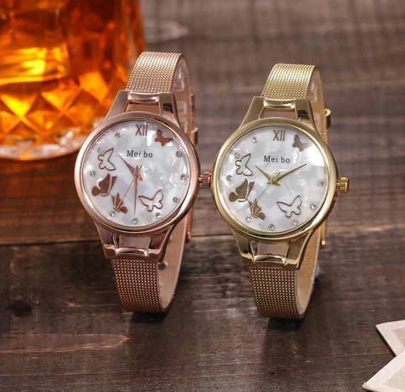 Relógio Feminino Borboletas Com Strass Meibo