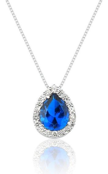 Colar De Prata Princesa Gota Azul Safira Prata Rara