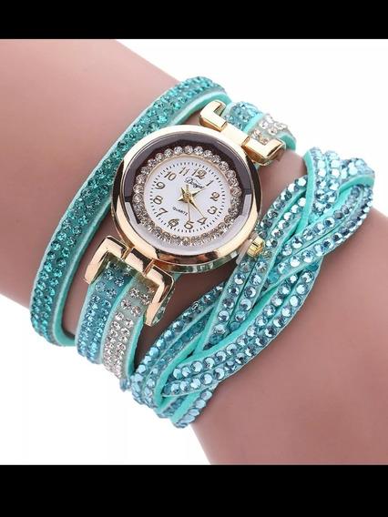 Relógio Feminino Pulso Com Pedras Brilhantes Cor Azul
