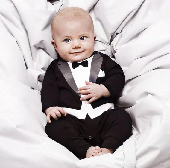Macação Smooking Bebe 3 Meses 1 Ano Poderoso Chefinho