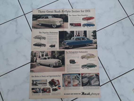 Folder Folheto Nash Ramber Statesman Coupe Ambassador Sedan
