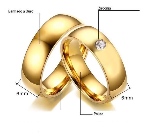 Par Aliança Casamento Noivado 6mm Folheado Ouro Com Zircônia
