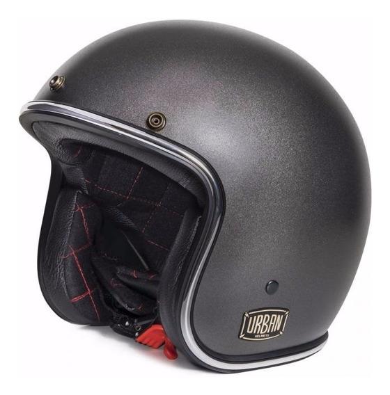 Capacete Aberto Urban Helmets Grafite Com Viseira Bolha