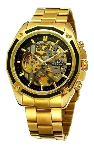 Reloj Hombre Automatico Forsining Skeleton Oro Lujo Dorado