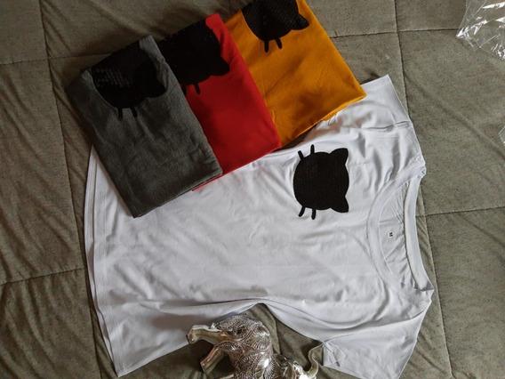 Camiseta T-shirt Feminina Gatinho Aplique Em Paite