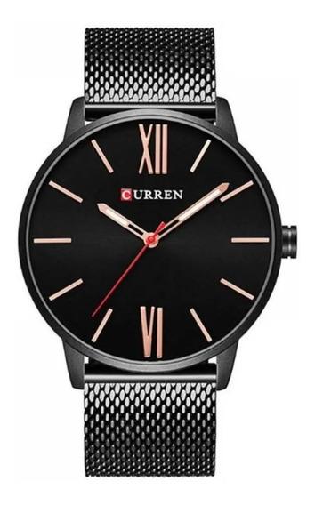 Relógio Masculino Curren Analógico 8238 Prata + Cinto Preto