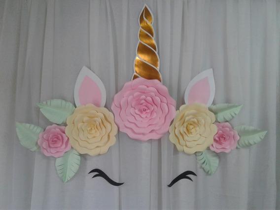 5 Flores Rosas De Papel Gigantes Con 6 Hojas Y Unicornio.