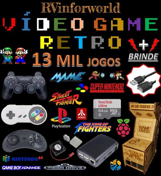 Vídeo Game Retro C/ 13 Mil Jogos 64gb 2 Controles + Brinde
