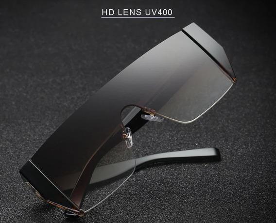 Óculos De Sol Futurista Black Gradiente Proteção Uva Uvb C1