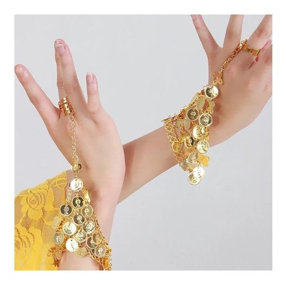 2 Pulseras Bellydance Accesorio Danza Árabe Anillo Brazalete