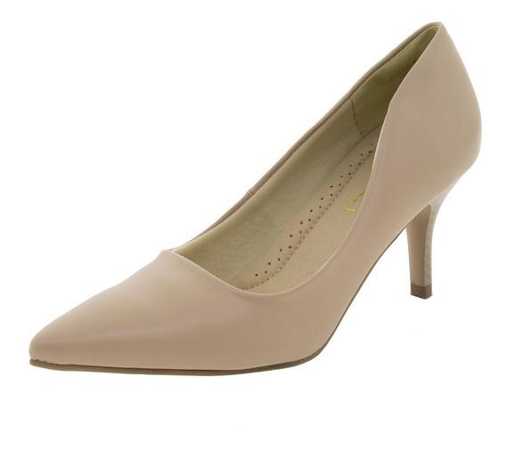 Sapato Feminino Salto Médio Areia Facinelli - 62104