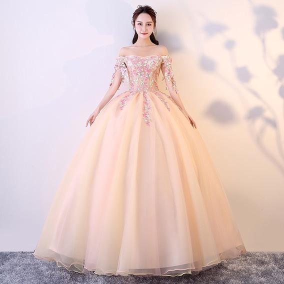 Vestido Quinceañera Princesa Strapless Manga Flores Xv Años