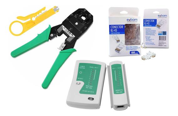 Kit Crimpagem 100 Rj45 + Alicaterj45/11 + Testador Rj45/11