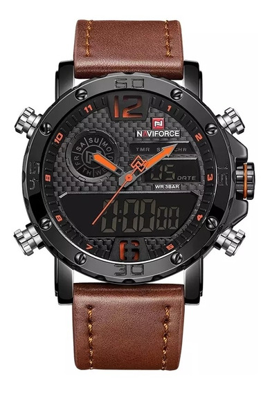 Relógio Masculino Militar Naviforce Pulseira Couro Original
