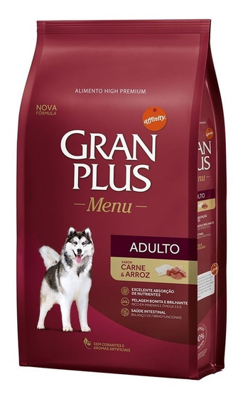 Ração Gran Plus Menu Adulto Carne 20kg