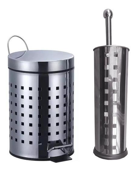 Kit Cesto Basura Tacho 3 Lts + Cepillo Accesorios Baño Acero