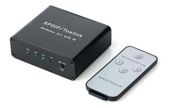 Switch Splitter Óptico 3x1 Toslink Chaveador Controle Remoto