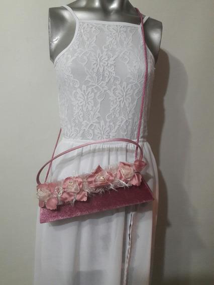Cartera De Fiesta. Color Rosa Con Flores.