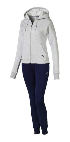 Puma Conjunto Running Mujer Clean Sweat Gris - Marino