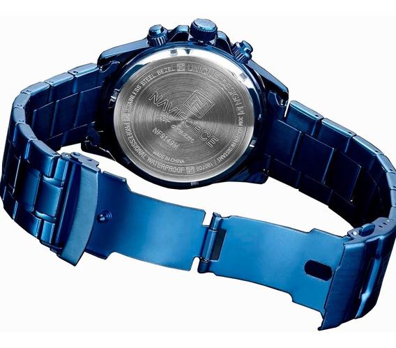 Relógio Masculino Naviforce Azul Original Importado Na Caixa Multi Funcional A Prova D