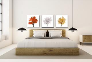Triptico Arboles Varios Colores, Cuadro Decorativo En Canvas