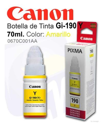 Imagen 1 de 1 de Canon Tinta Gi-190 Y Botella De Tinta Amarilla Con 70ml