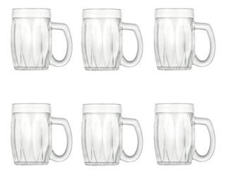 Set Cervecero 6 Vasos Vidrio Jarro Chopp Para Cerveza Wheaton Baviera Vaso De Cervecería Bares Uso Diario - 360 Ml