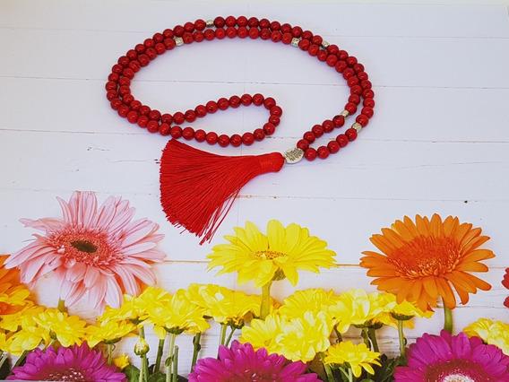 Japamala 108 Contas De Pedra Natural Turquesa Vermelha 8mm