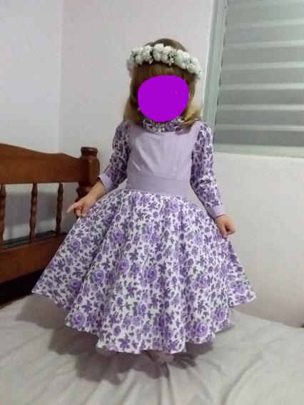 Vestido Para Daminha Ou Florista - Floral - Tam. 4/6 Anos
