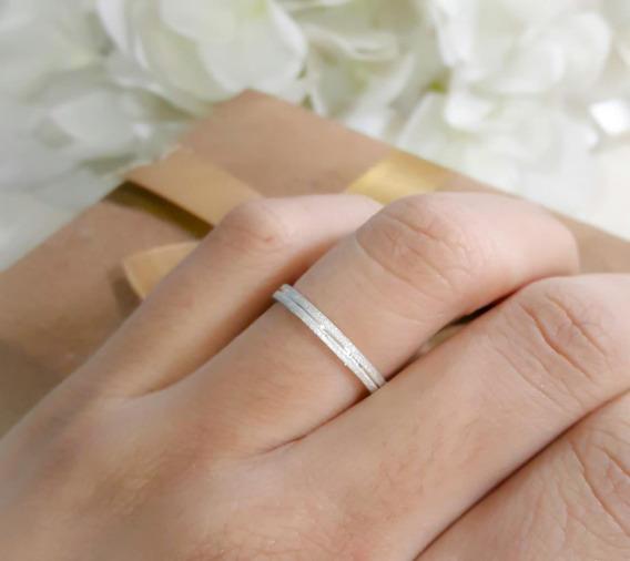 Aliancinha Quadrada Aparador Diamantado Prata 950 Delicado