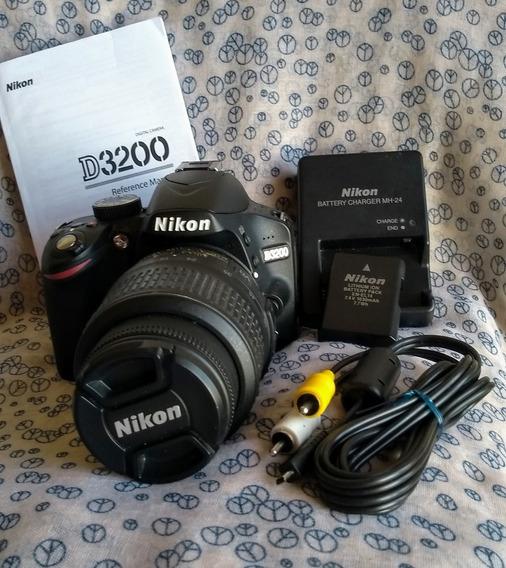 Nikon D3200 + Lente 18×55 + Acessórios E Aprox. 500 Clicks
