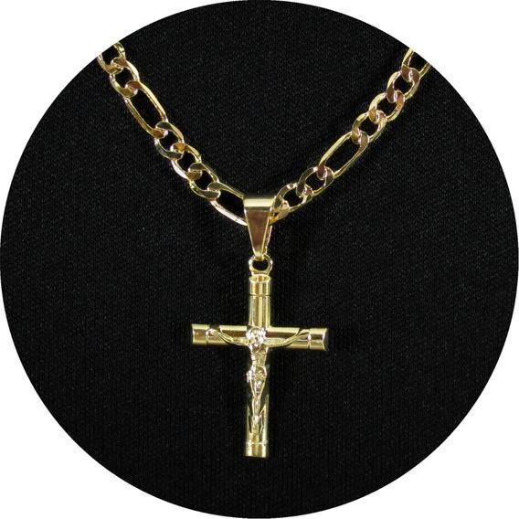 Corrente Masculina Crucifixo 3x1 60 Cm Folheada A Ouro