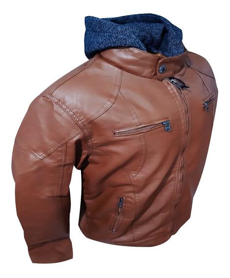 Jaqueta Couro Masculina Preta Com Capuz Touca Moto Moderna