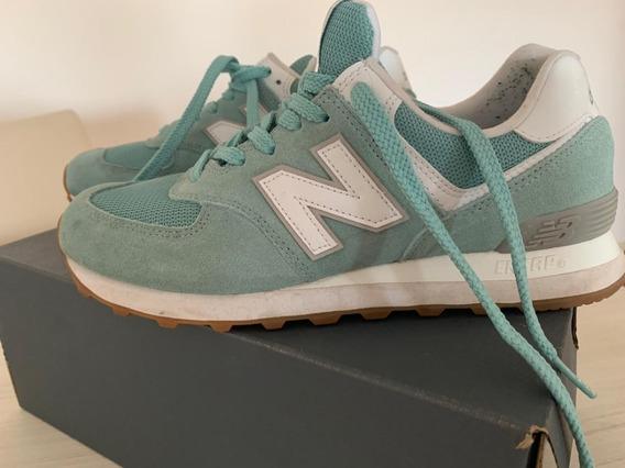 New Balance 574 Mujer Verde Claro - Zapatillas Usado en ...