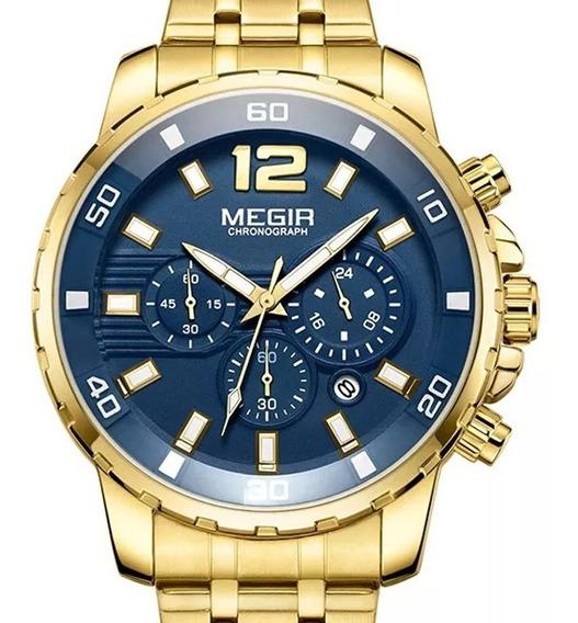 Relógio Megir Masculino Dourado Cronógrafo Original