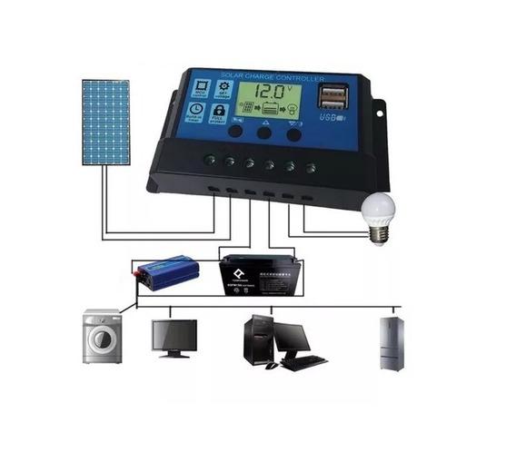 2 Controladores De Carga 30a 12v/24v 2 Usb Para Painel Solar
