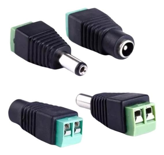 Pack X4 Pares Plug Macho + Hembra Bornera Conector Camaras