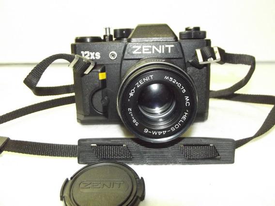 Maquina Fotografica Antiga Zenit 12xs Nova E Capas De Couro