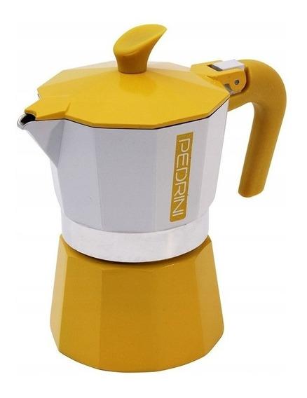 Cafetera Pedrini Vintage 6 Pocillos Amarilla
